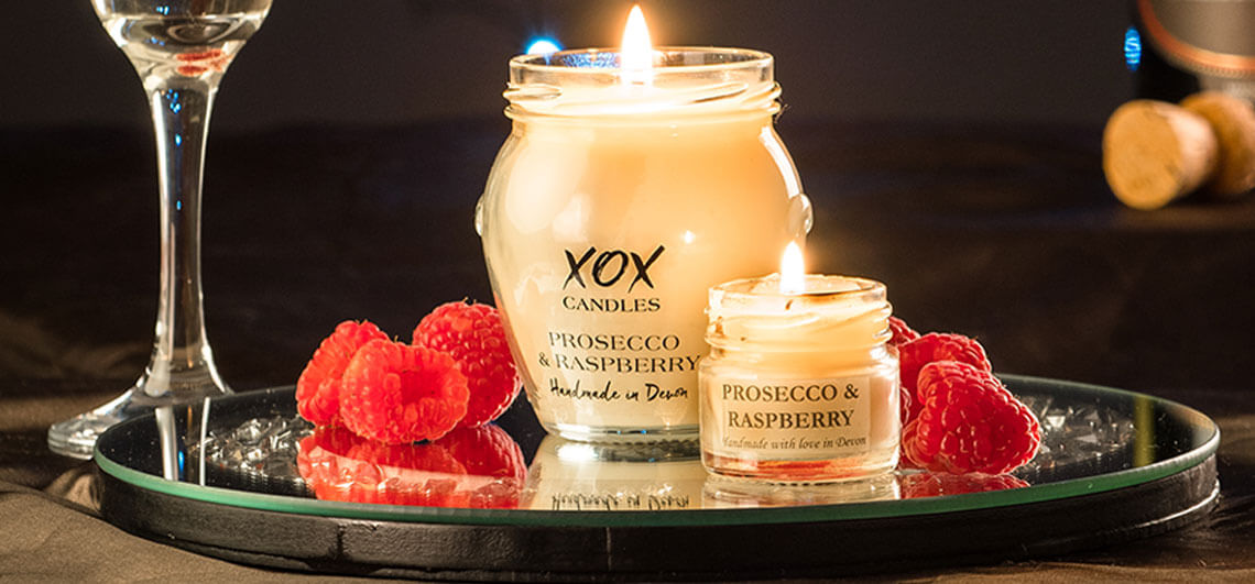 Prosecco Glass Raspberry Scented Candles